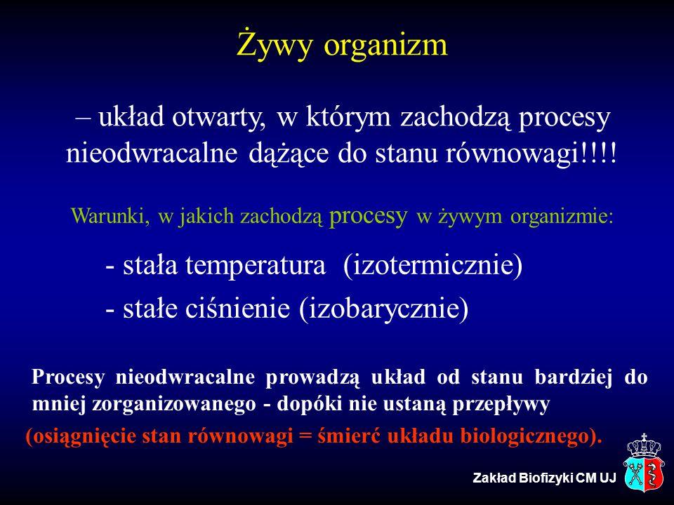Żywy organizm – układ otwarty, w którym zachodzą procesy nieodwracalne dążące do stanu równowagi!!!! Warunki, w jakich zachodzą procesy w żywym organi