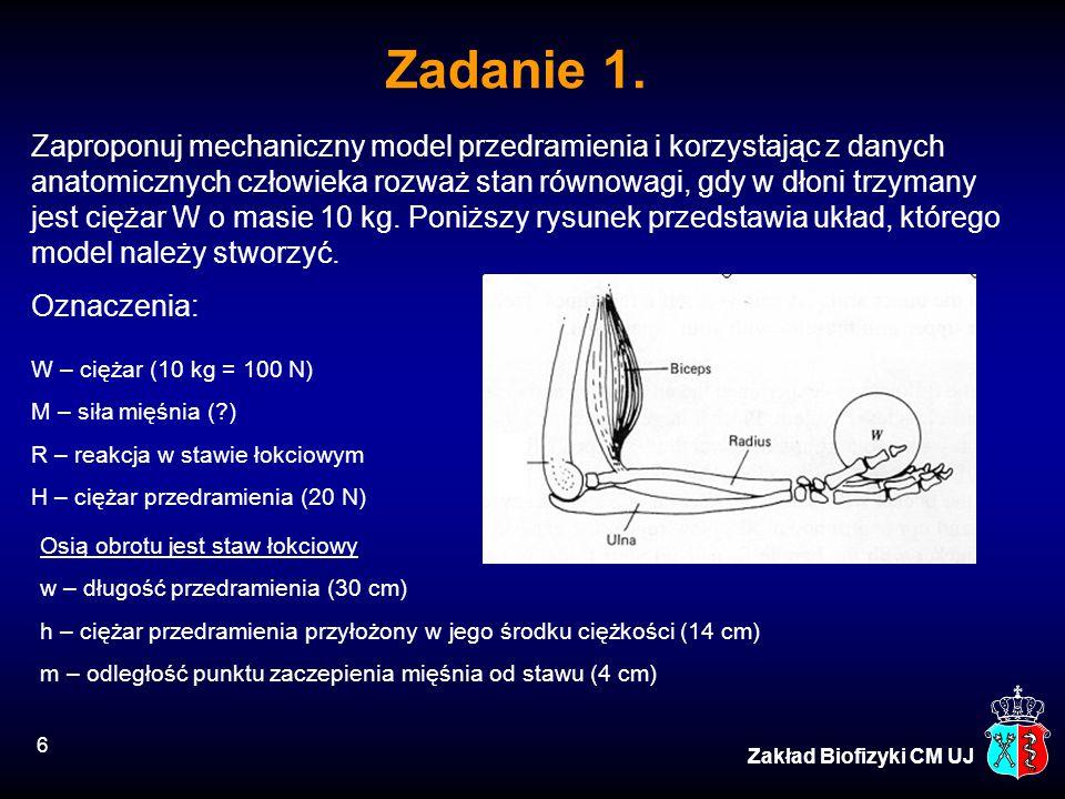 Zaproponuj mechaniczny model przedramienia i korzystając z danych anatomicznych człowieka rozważ stan równowagi, gdy w dłoni trzymany jest ciężar W o