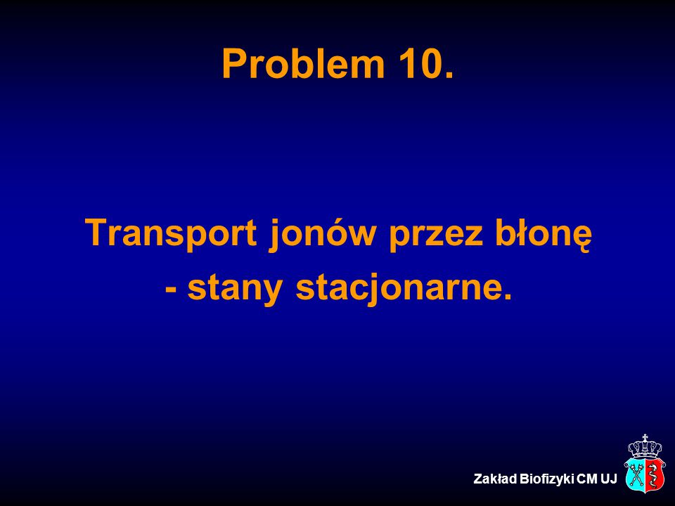Problem 10. Transport jonów przez błonę - stany stacjonarne. Zakład Biofizyki CM UJ