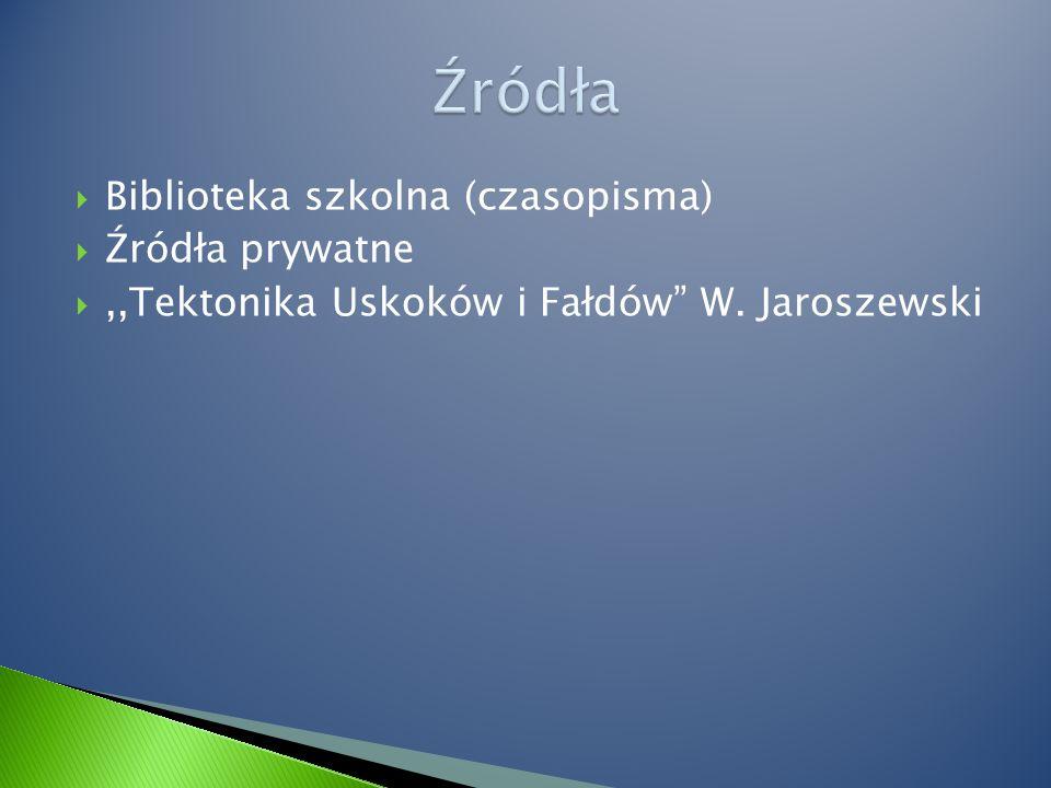  Biblioteka szkolna (czasopisma)  Źródła prywatne ,,Tektonika Uskoków i Fałdów W. Jaroszewski