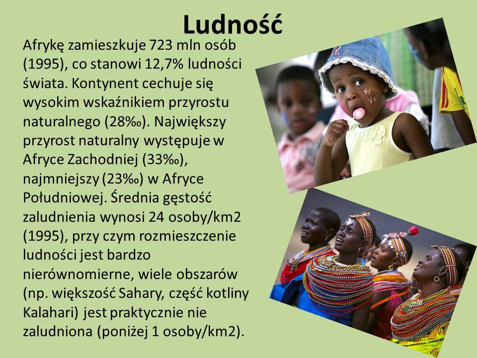 Ludność Afrykę zamieszkuje 723 mln osób (1995), co stanowi 12,7% ludności świata.