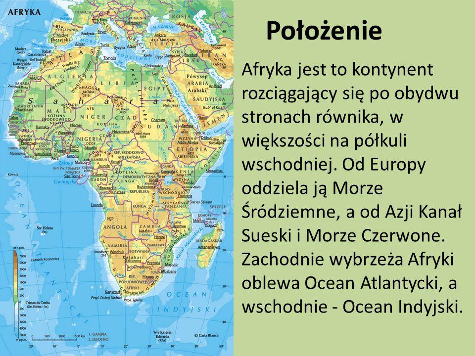 Położenie Afryka jest to kontynent rozciągający się po obydwu stronach równika, w większości na półkuli wschodniej.