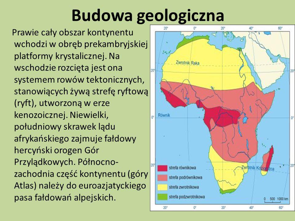 Budowa geologiczna Prawie cały obszar kontynentu wchodzi w obręb prekambryjskiej platformy krystalicznej.