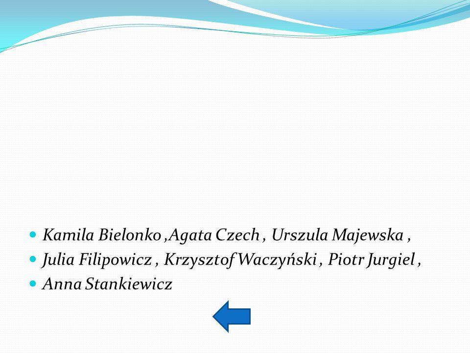 Kamila Bielonko,Agata Czech, Urszula Majewska, Julia Filipowicz, Krzysztof Waczyński, Piotr Jurgiel, Anna Stankiewicz