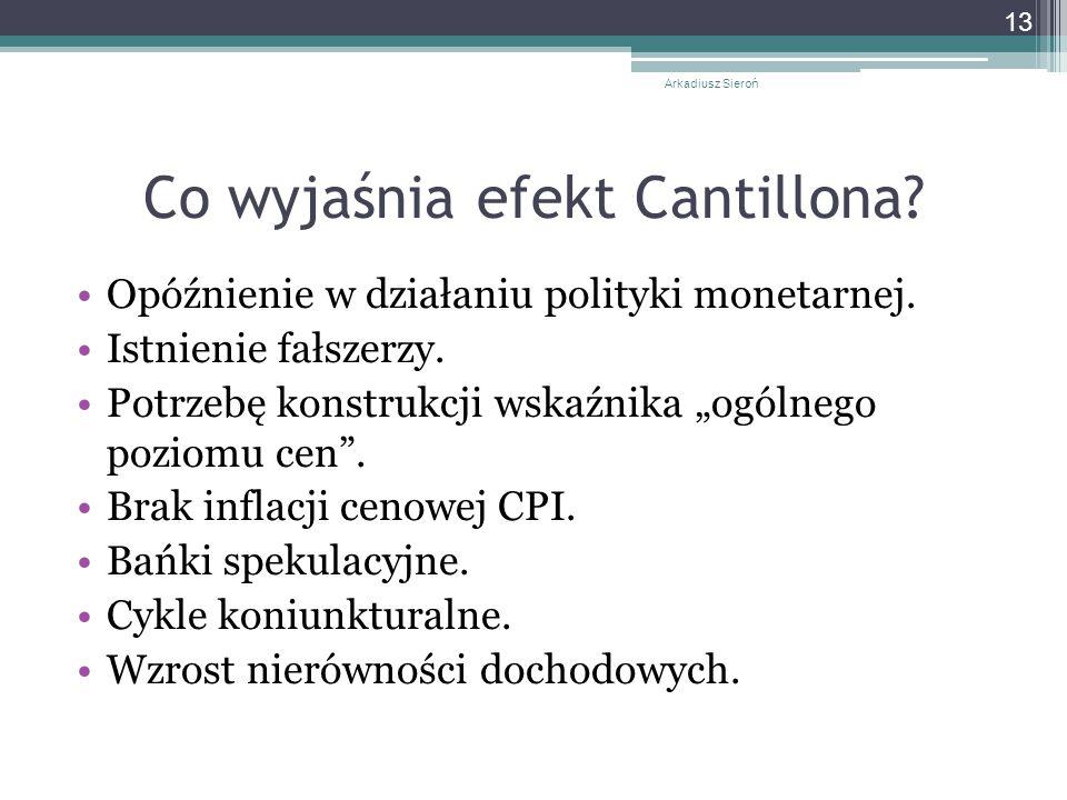 Co wyjaśnia efekt Cantillona.Opóźnienie w działaniu polityki monetarnej.