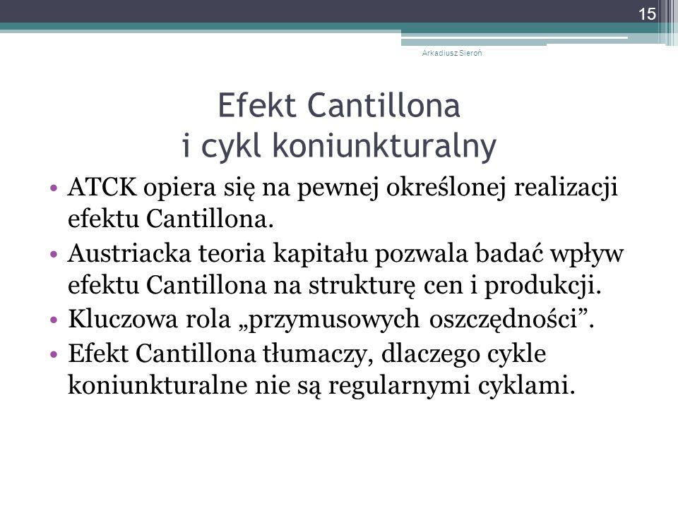 Efekt Cantillona i cykl koniunkturalny ATCK opiera się na pewnej określonej realizacji efektu Cantillona.