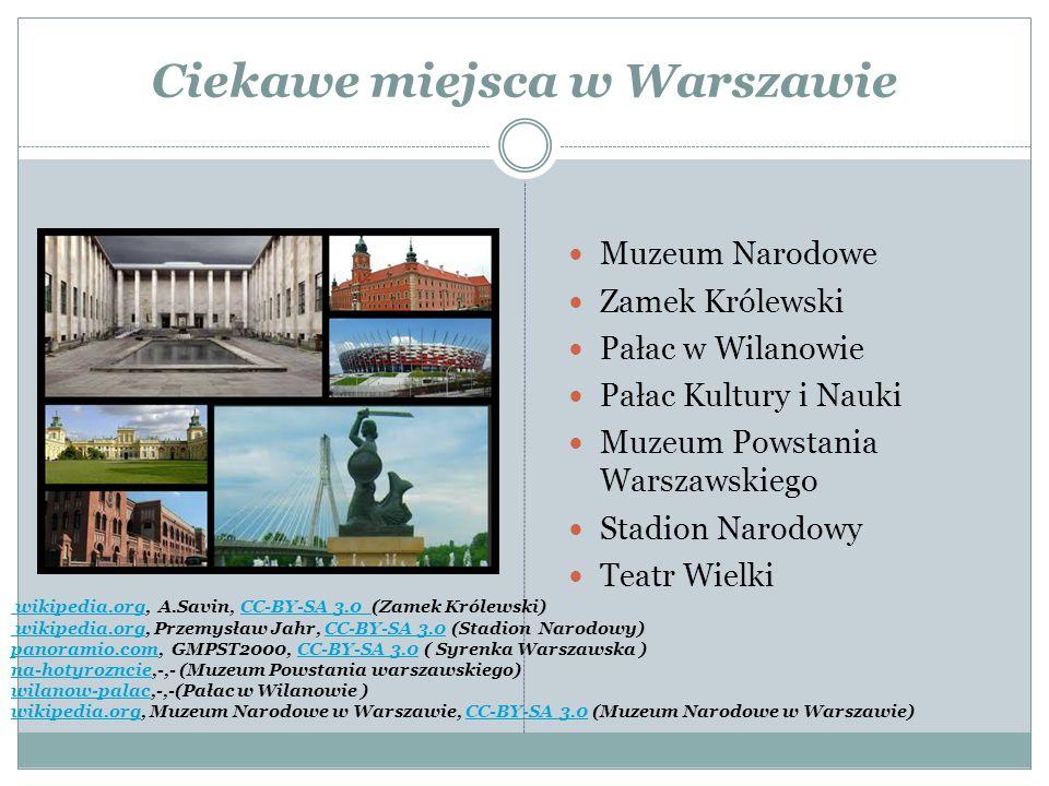 Ciekawe miejsca w Warszawie Muzeum Narodowe Zamek Królewski Pałac w Wilanowie Pałac Kultury i Nauki Muzeum Powstania Warszawskiego Stadion Narodowy Te