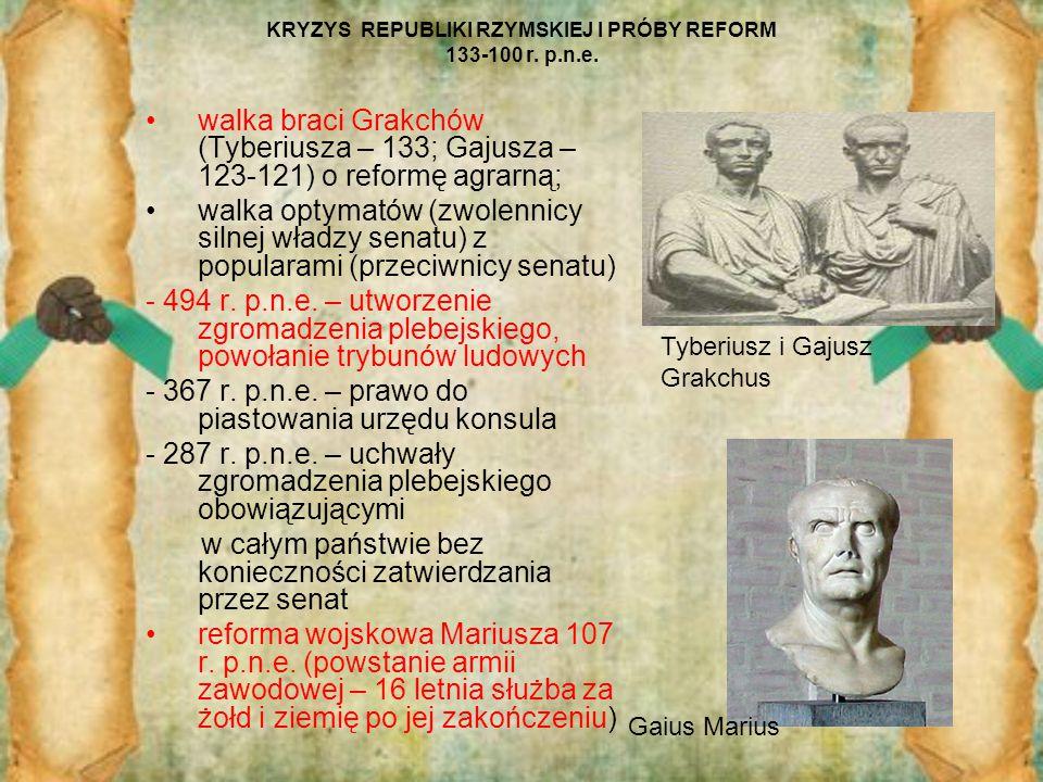 KRYZYS REPUBLIKI RZYMSKIEJ I PRÓBY REFORM 133-100 r. p.n.e. walka braci Grakchów (Tyberiusza – 133; Gajusza – 123-121) o reformę agrarną; walka optyma