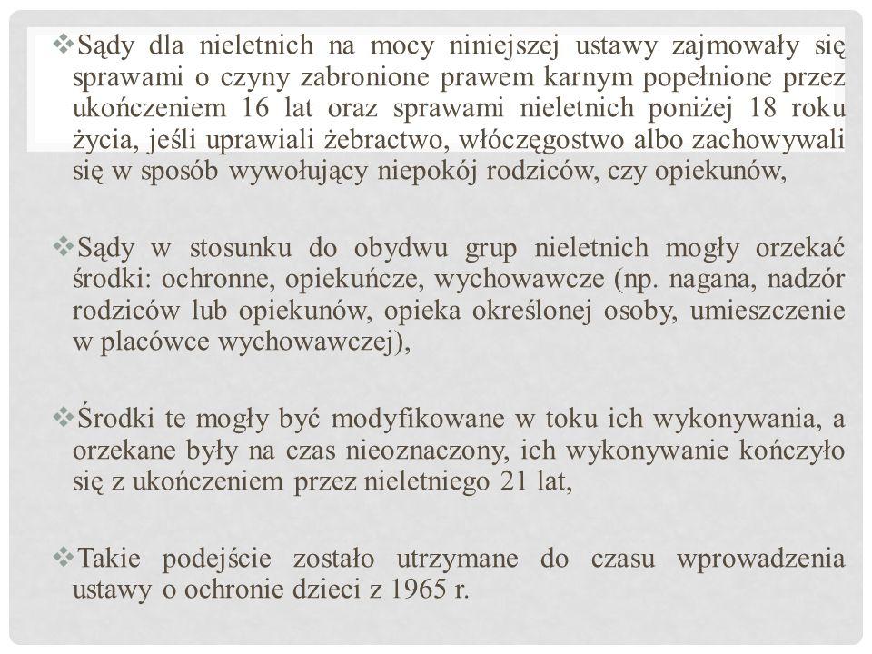 HISZPANIA  Ustawy o sądach opiekuńczych dla dzieci i młodzieży zostały wydane w 1918 i 1948 r.,  Zgodnie z ustawą z 1948 r.