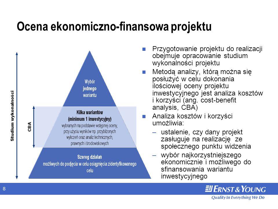 8 Ocena ekonomiczno-finansowa projektu Przygotowanie projektu do realizacji obejmuje opracowanie studium wykonalności projektu Metodą analizy, którą można się posłużyć w celu dokonania ilościowej oceny projektu inwestycyjnego jest analiza kosztów i korzyści (ang.