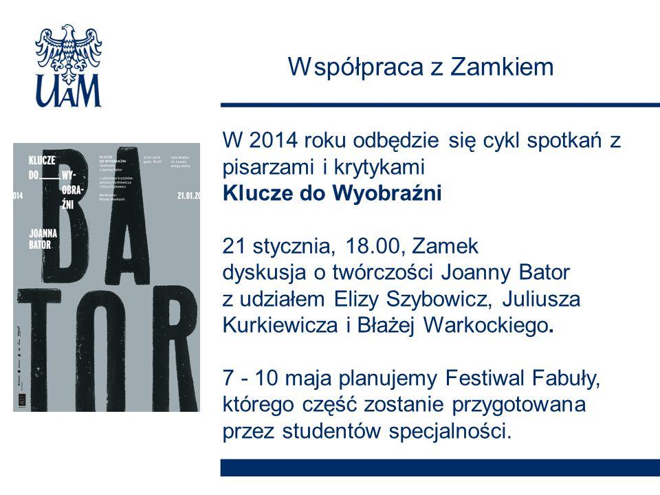 Współpraca z Zamkiem W 2014 roku odbędzie się cykl spotkań z pisarzami i krytykami Klucze do Wyobraźni 21 stycznia, 18.00, Zamek dyskusja o twórczości Joanny Bator z udziałem Elizy Szybowicz, Juliusza Kurkiewicza i Błażej Warkockiego.