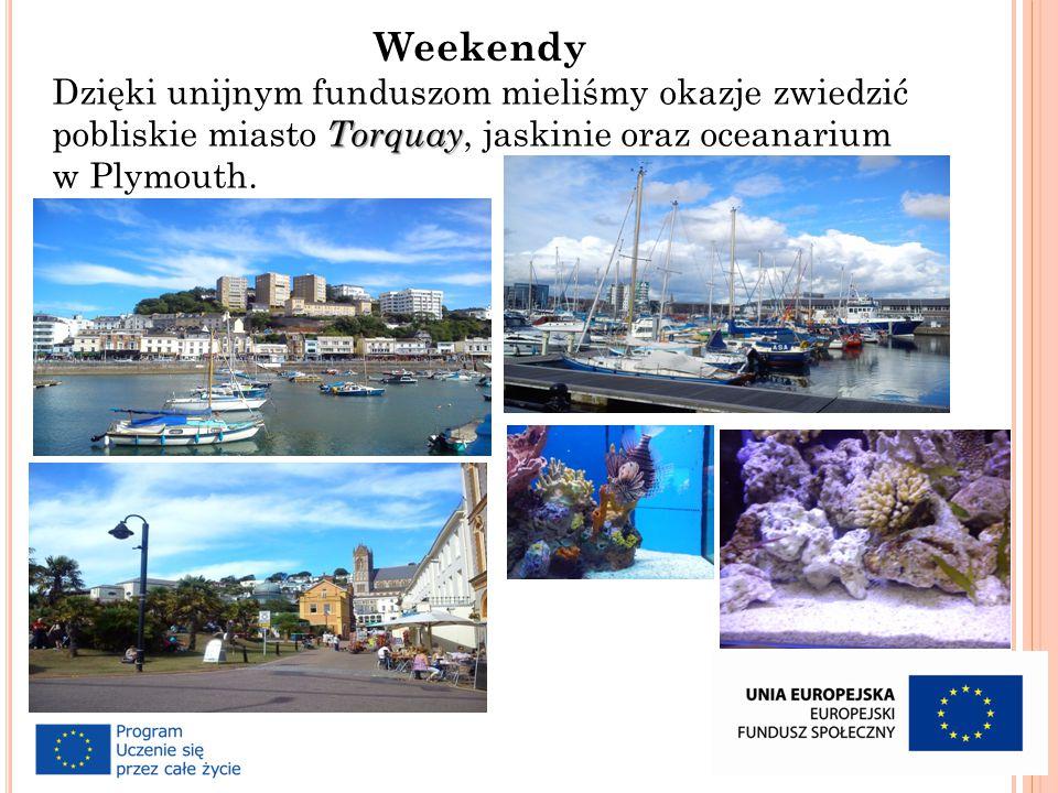 Torquay Dzięki unijnym funduszom mieliśmy okazje zwiedzić pobliskie miasto Torquay, jaskinie oraz oceanarium w Plymouth.