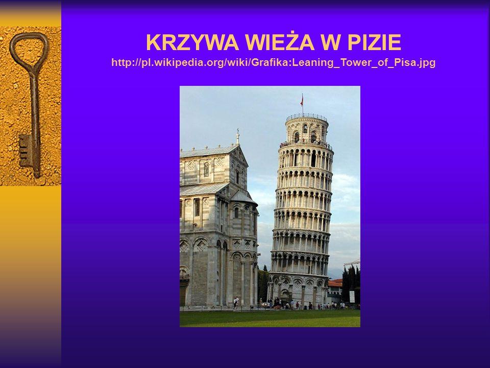KRZYWA WIEŻA W PIZIE http://pl.wikipedia.org/wiki/Grafika:Leaning_Tower_of_Pisa.jpg