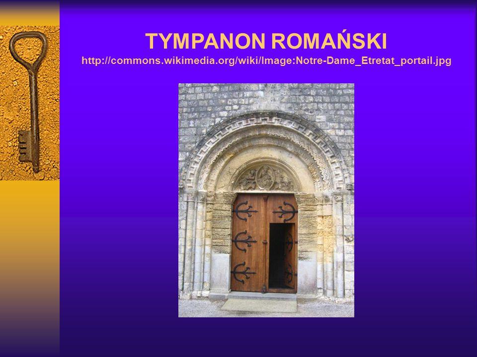 TYMPANON ROMAŃSKI http://commons.wikimedia.org/wiki/Image:Notre-Dame_Etretat_portail.jpg