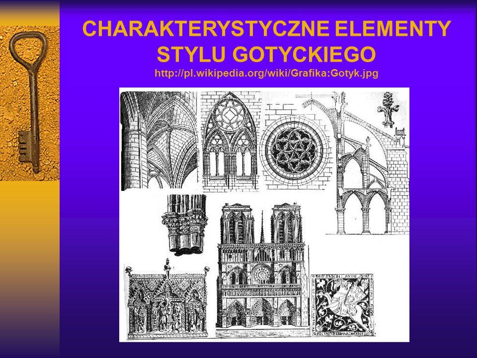 CHARAKTERYSTYCZNE ELEMENTY STYLU GOTYCKIEGO http://pl.wikipedia.org/wiki/Grafika:Gotyk.jpg