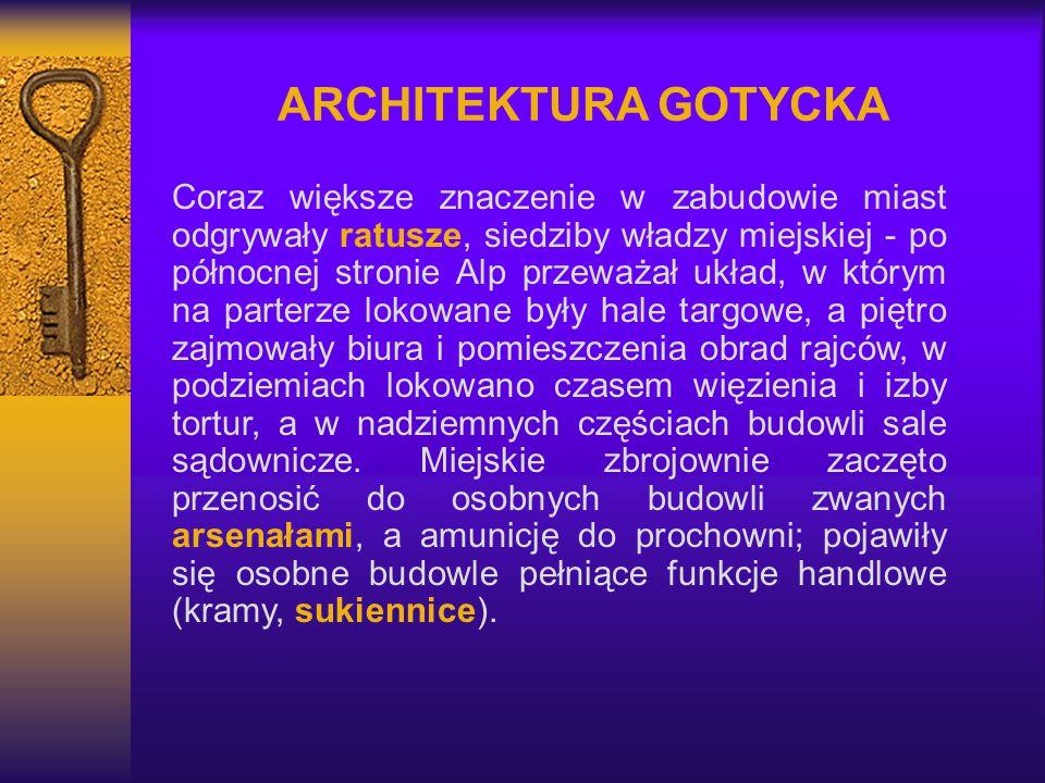 ARCHITEKTURA GOTYCKA Coraz większe znaczenie w zabudowie miast odgrywały ratusze, siedziby władzy miejskiej - po północnej stronie Alp przeważał układ