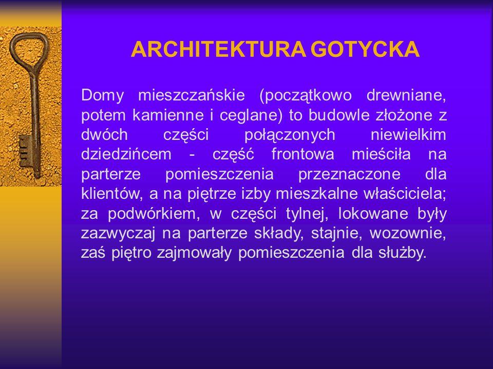 ARCHITEKTURA GOTYCKA Domy mieszczańskie (początkowo drewniane, potem kamienne i ceglane) to budowle złożone z dwóch części połączonych niewielkim dzie