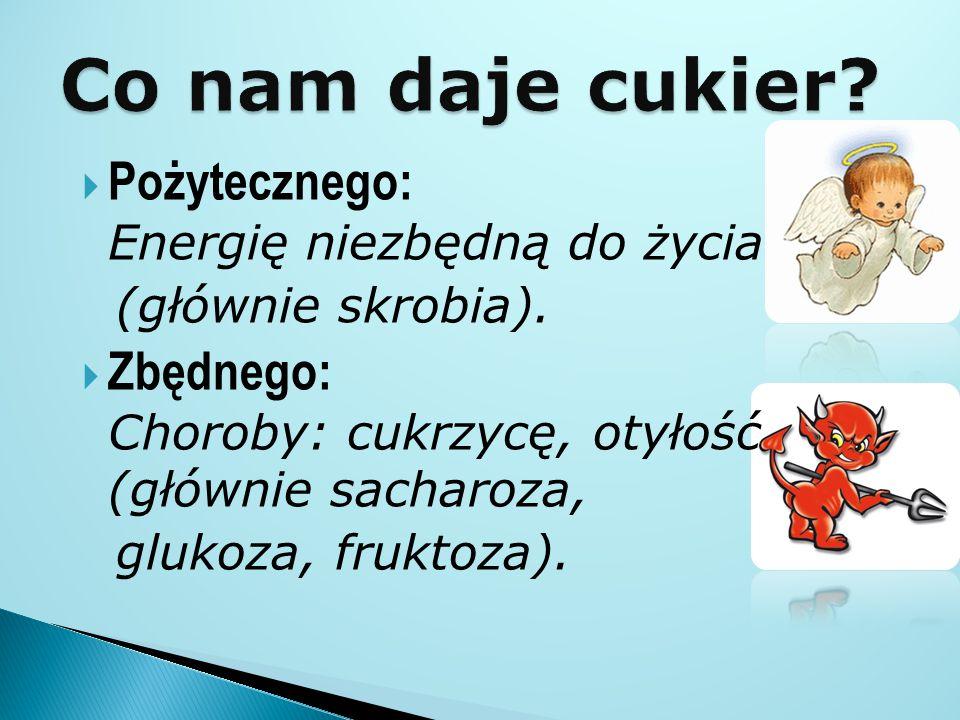  Pożytecznego: Energię niezbędną do życia (głównie skrobia).  Zbędnego: Choroby: cukrzycę, otyłość (głównie sacharoza, glukoza, fruktoza).