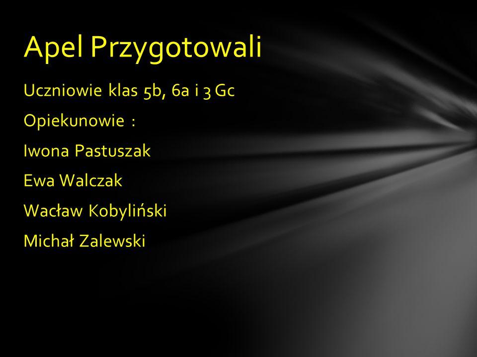 Uczniowie klas 5b, 6a i 3 Gc Opiekunowie : Iwona Pastuszak Ewa Walczak Wacław Kobyliński Michał Zalewski Apel Przygotowali