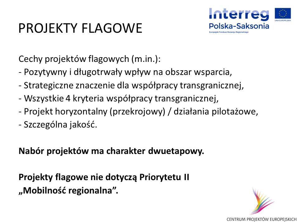 PROJEKTY FLAGOWE Cechy projektów flagowych (m.in.): - Pozytywny i długotrwały wpływ na obszar wsparcia, - Strategiczne znaczenie dla współpracy transg