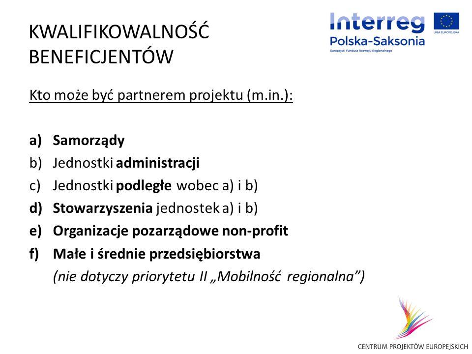 KWALIFIKOWALNOŚĆ BENEFICJENTÓW Kto może być partnerem projektu (m.in.): a)Samorządy b)Jednostki administracji c)Jednostki podległe wobec a) i b) d)Sto
