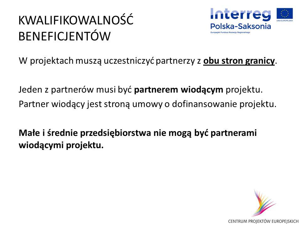 KWALIFIKOWALNOŚĆ BENEFICJENTÓW W projektach muszą uczestniczyć partnerzy z obu stron granicy. Jeden z partnerów musi być partnerem wiodącym projektu.