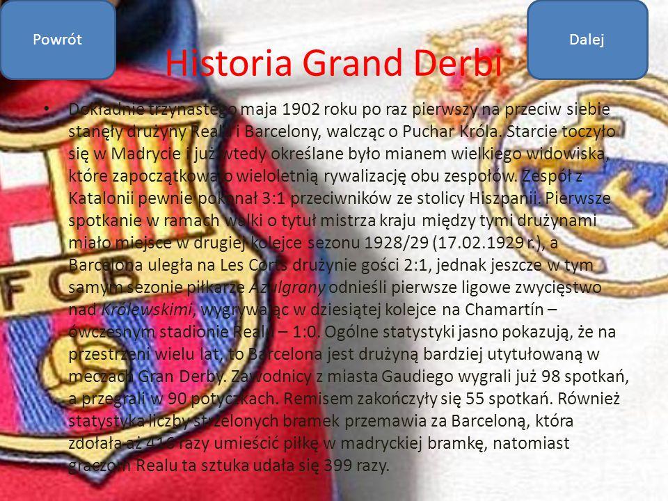 Historia Grand Derbi Dokładnie trzynastego maja 1902 roku po raz pierwszy na przeciw siebie stanęły drużyny Realu i Barcelony, walcząc o Puchar Króla.