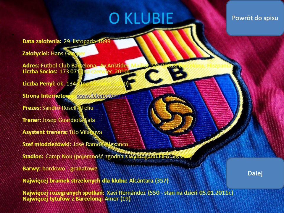 O KLUBIE Data założenia: 29. listopada 1899 Założyciel: Hans Gamper Adres: Futbol Club Barcelona, Av.Arístides Maillol, s/n 08028 Barcelona, Hiszpania