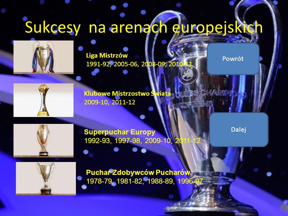 Sukcesy na arenach europejskich Liga Mistrzów 1991-92, 2005-06, 2008-09, 2010-11 Klubowe Mistrzostwo Świata 2009-10, 2011-12 Superpuchar Europy 1992-9
