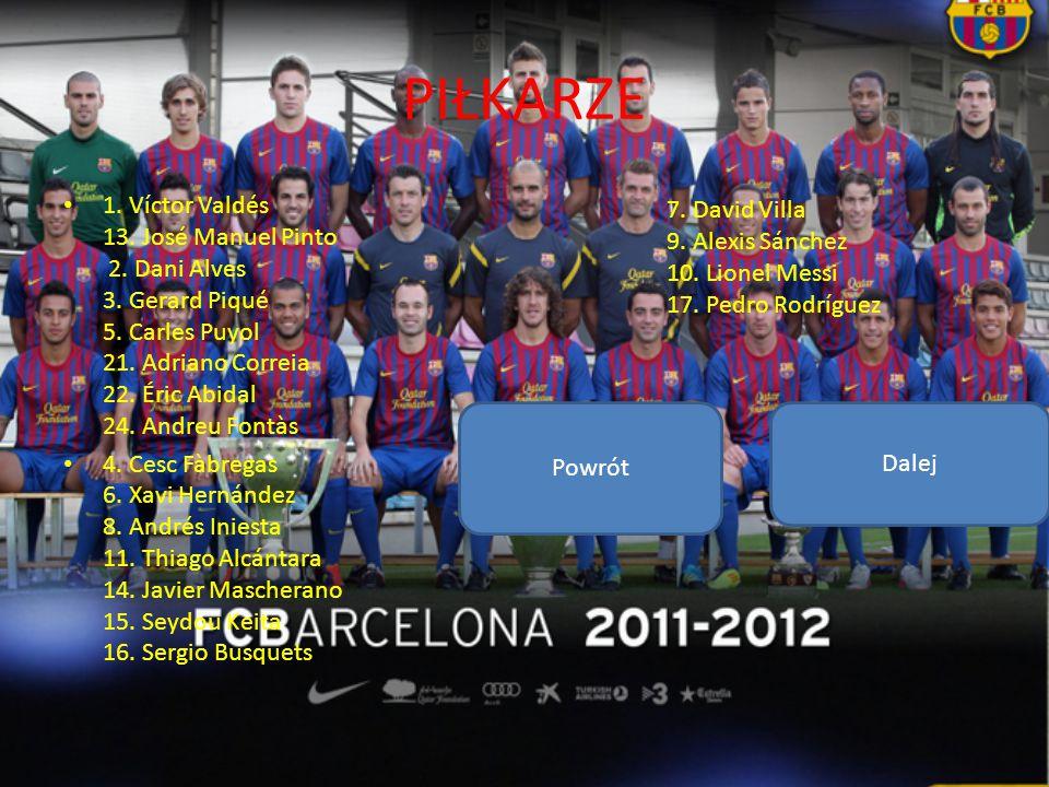 PIŁKARZE 1. Víctor Valdés 13. José Manuel Pinto 2. Dani Alves 3. Gerard Piqué 5. Carles Puyol 21. Adriano Correia 22. Éric Abidal 24. Andreu Fontàs 4.