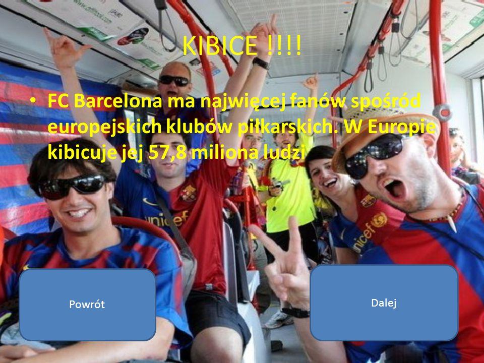 KIBICE !!!! FC Barcelona ma najwięcej fanów spośród europejskich klubów piłkarskich. W Europie kibicuje jej 57,8 miliona ludzi Powrót Dalej