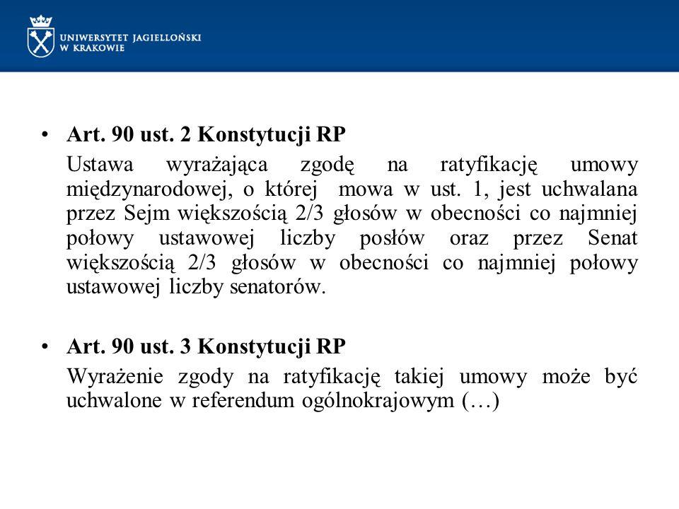 Art. 90 ust. 2 Konstytucji RP Ustawa wyrażająca zgodę na ratyfikację umowy międzynarodowej, o której mowa w ust. 1, jest uchwalana przez Sejm większoś