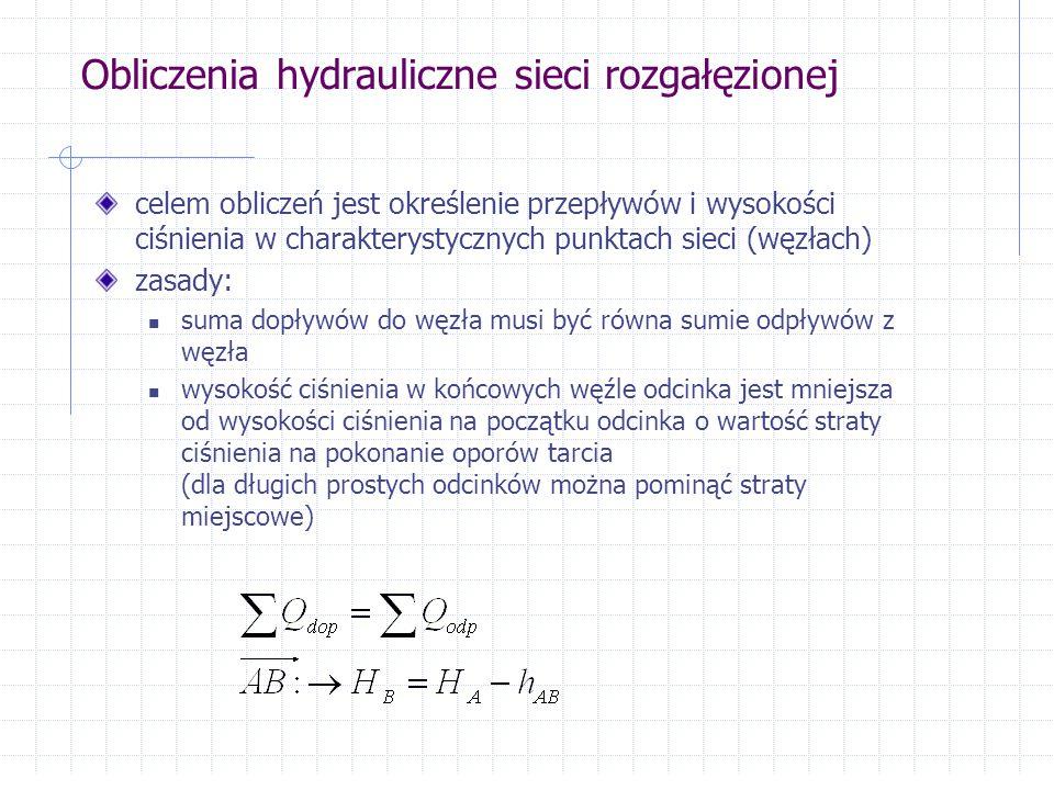 Obliczenia hydrauliczne sieci rozgałęzionej celem obliczeń jest określenie przepływów i wysokości ciśnienia w charakterystycznych punktach sieci (węzł