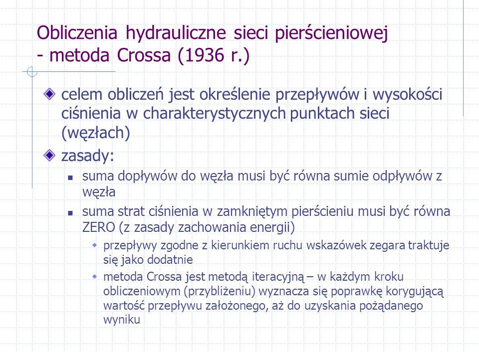 Obliczenia hydrauliczne sieci pierścieniowej - metoda Crossa (1936 r.) celem obliczeń jest określenie przepływów i wysokości ciśnienia w charakterysty