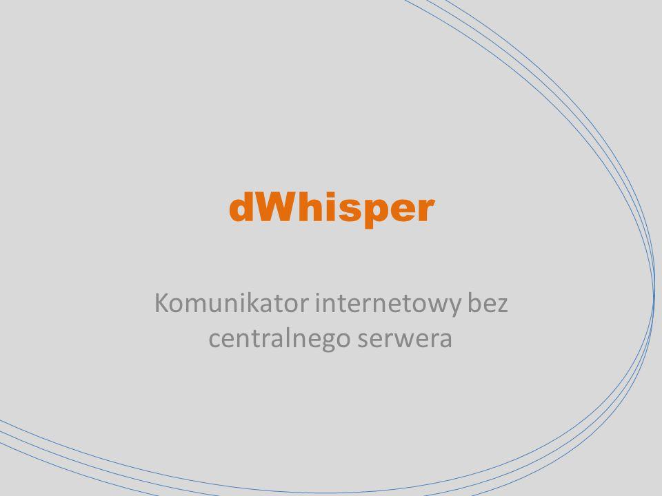 dWhisper Planowana Funkcjonalność 1.Odbieranie i wysyłanie wiadomości między dwoma użytkownikami w połączeniu peer-to-peer 2.