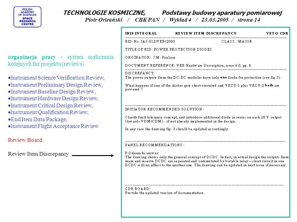 organizacja pracy - system rozliczania kolejnych faz projektu (reviews)  Instrument Science Verification Review,  Instrument Preliminary Design Review,  Instrument Baseline Design Review,  Instrument Hardware Design Review,  Instrument Critical Design Review,  Instrument Qualification Review,  End Item Data Package,  Instrument Flight Acceptance Review Review Board Review Item Discrepancy TECHNOLOGIE KOSMICZNE, Podstawy budowy aparatury pomiarowej Piotr Orleański / CBK PAN / Wykład 4 / 23.03.2005 / strona 14