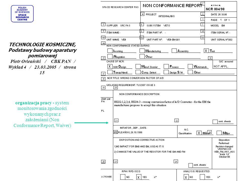 organizacja pracy - system monitorowania zgodności wykonanych prac z założeniami (Non Conformance Report, Waiver) TECHNOLOGIE KOSMICZNE, Podstawy budo