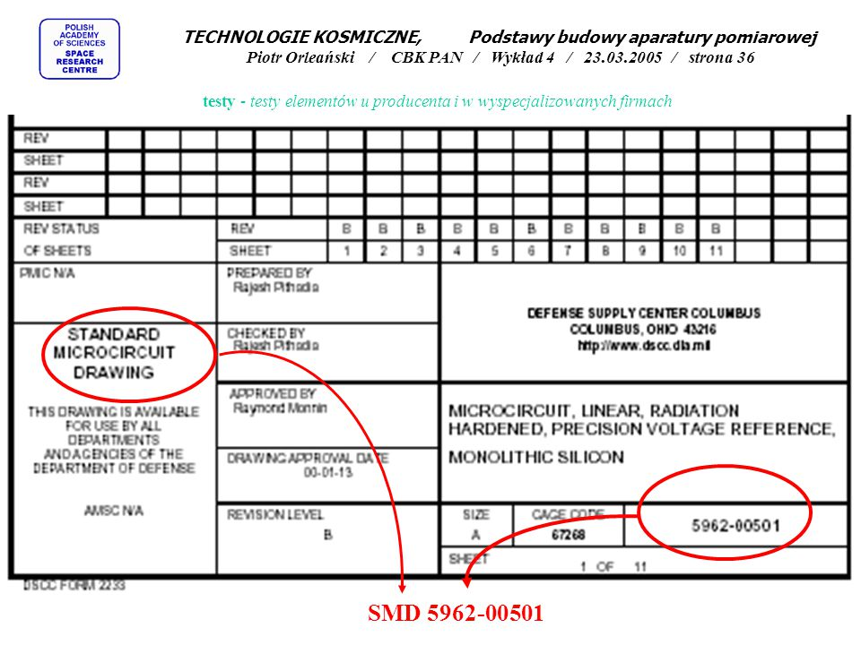 testy - testy elementów u producenta i w wyspecjalizowanych firmach SMD 5962-00501 TECHNOLOGIE KOSMICZNE, Podstawy budowy aparatury pomiarowej Piotr O