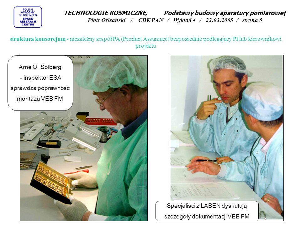 struktura konsorcjum - niezależny zespół PA (Product Assurance) bezpośrednio podlegający PI lub kierownikowi projektu Arne O. Solberg - inspektor ESA
