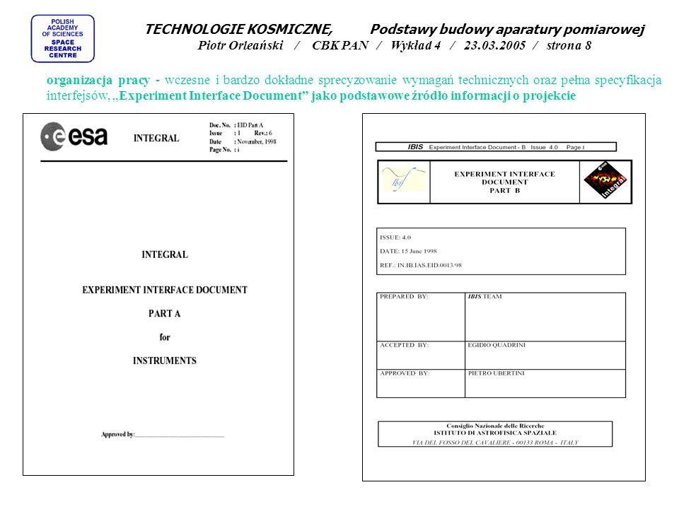 metody projektowania - stosowanie odpowiednich marginesów projektowych (derating rules) TECHNOLOGIE KOSMICZNE, Podstawy budowy aparatury pomiarowej Piotr Orleański / CBK PAN / Wykład 4 / 23.03.2005 / strona 19