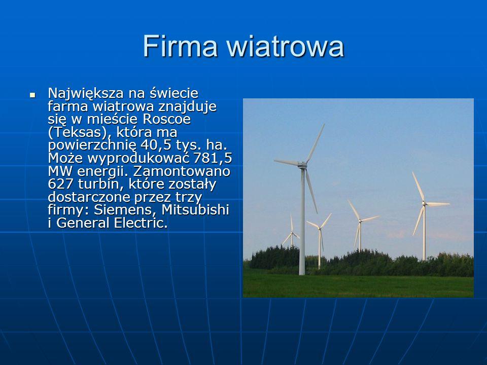 Firma wiatrowa Największa na świecie farma wiatrowa znajduje się w mieście Roscoe (Teksas), która ma powierzchnię 40,5 tys.