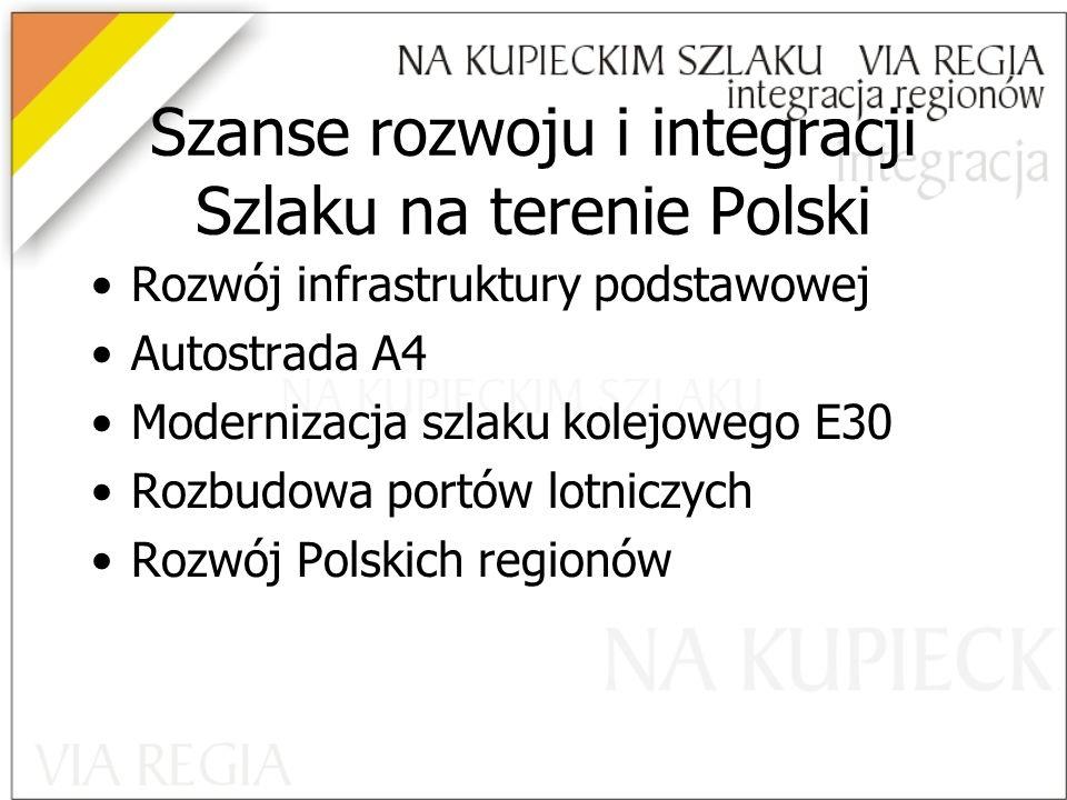Szanse rozwoju i integracji Szlaku na terenie Polski Rozwój infrastruktury podstawowej Autostrada A4 Modernizacja szlaku kolejowego E30 Rozbudowa portów lotniczych Rozwój Polskich regionów