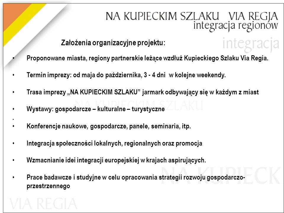 Założenia organizacyjne projektu: Proponowane miasta, regiony partnerskie leżące wzdłuż Kupieckiego Szlaku Via Regia.
