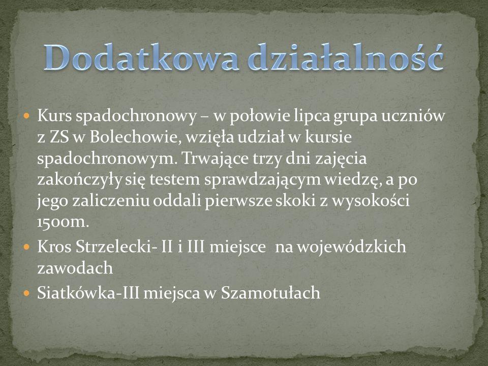 Kurs spadochronowy – w połowie lipca grupa uczniów z ZS w Bolechowie, wzięła udział w kursie spadochronowym.