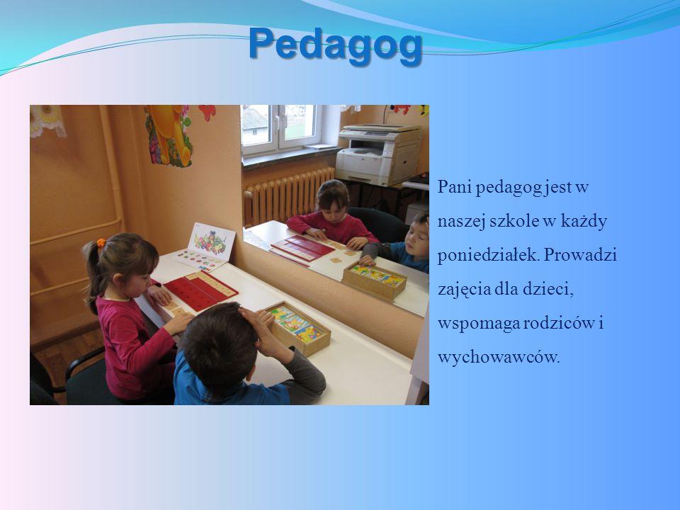 Pedagog Pani pedagog jest w naszej szkole w każdy poniedziałek.