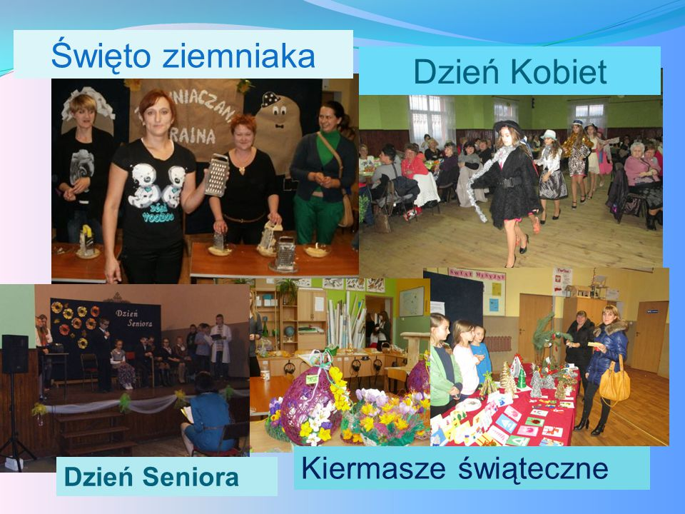 Święto ziemniaka Dzień Kobiet Kiermasze świąteczne Dzień Seniora