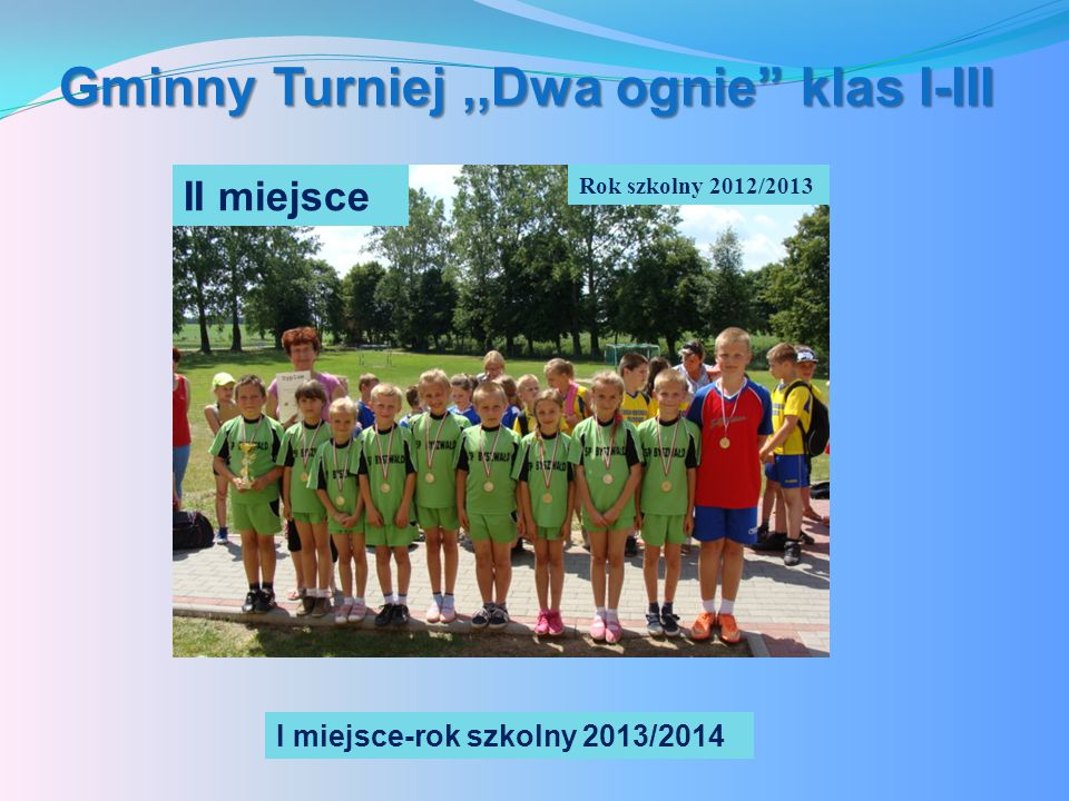 Gminny Turniej,,Dwa ognie klas I-III Rok szkolny 2012/2013 II miejsce I miejsce-rok szkolny 2013/2014