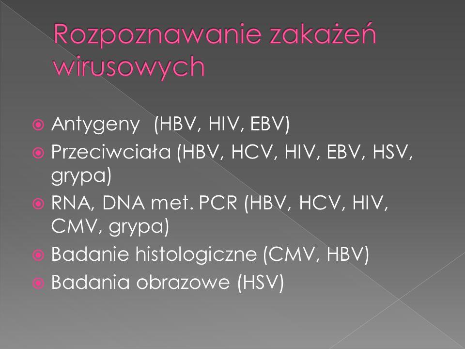  Antygeny (HBV, HIV, EBV)  Przeciwciała (HBV, HCV, HIV, EBV, HSV, grypa)  RNA, DNA met. PCR (HBV, HCV, HIV, CMV, grypa)  Badanie histologiczne (CM