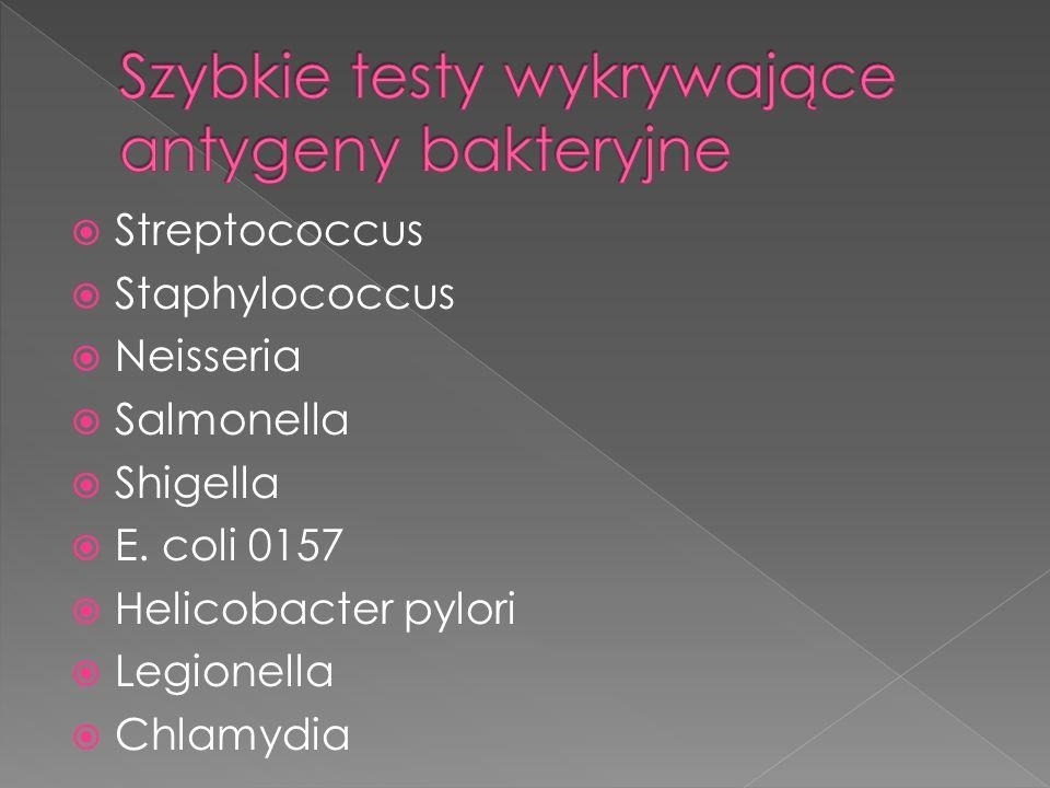  Streptococcus  Staphylococcus  Neisseria  Salmonella  Shigella  E. coli 0157  Helicobacter pylori  Legionella  Chlamydia