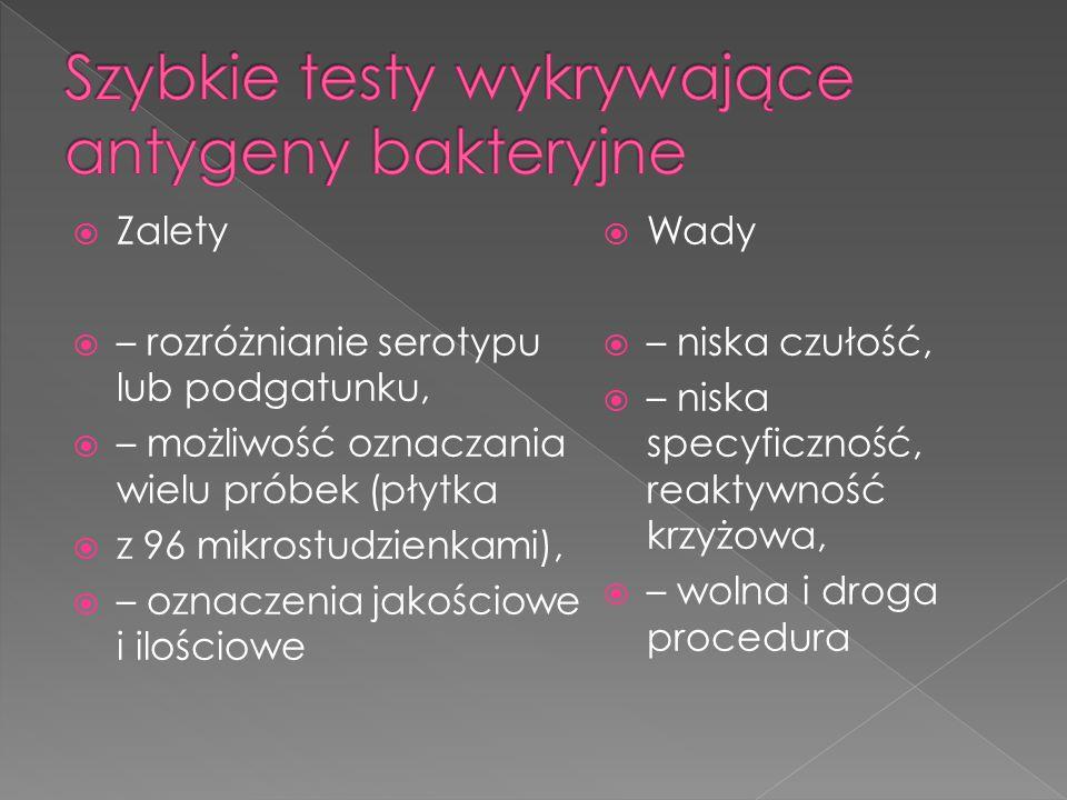  Zalety  – rozróżnianie serotypu lub podgatunku,  – możliwość oznaczania wielu próbek (płytka  z 96 mikrostudzienkami),  – oznaczenia jakościowe